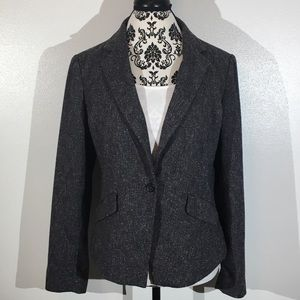 French Connection Black/Gray Tweed Blazer - 12